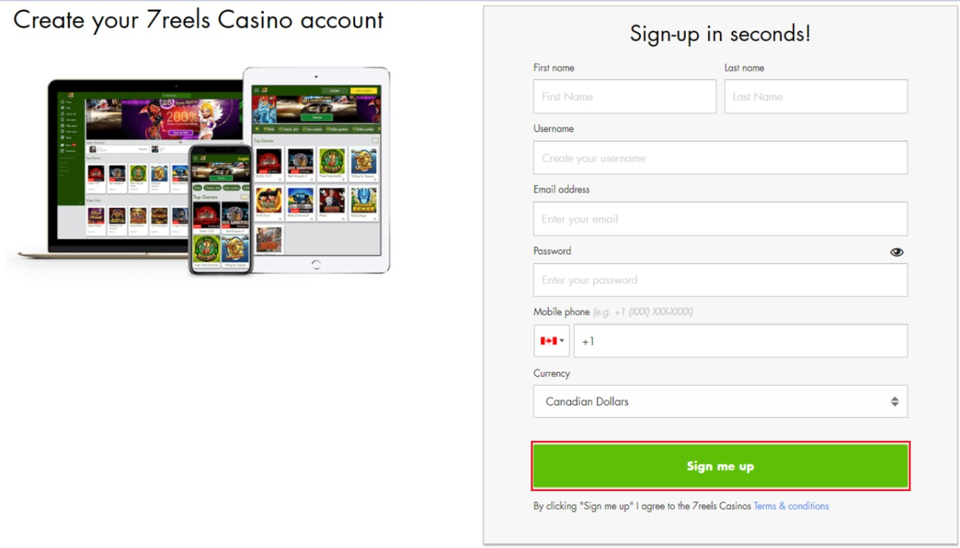 7reels casino sign up