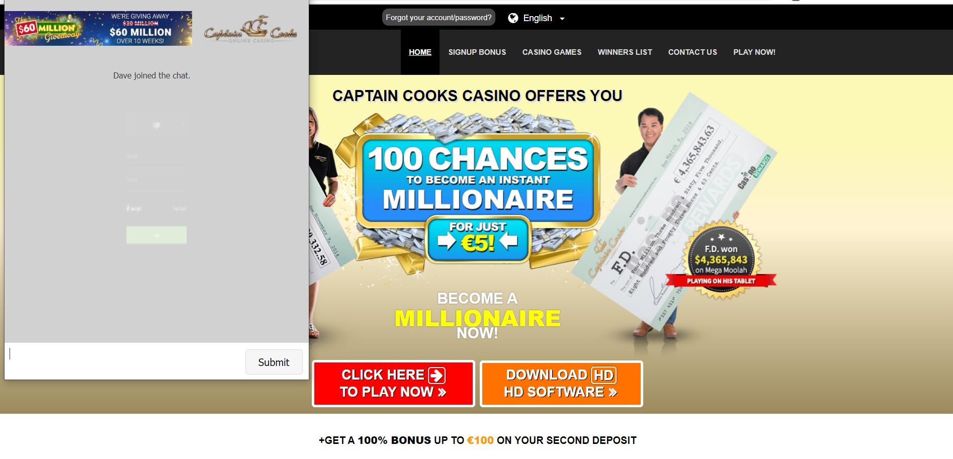 Captain Cooks Casino Claim Bonus