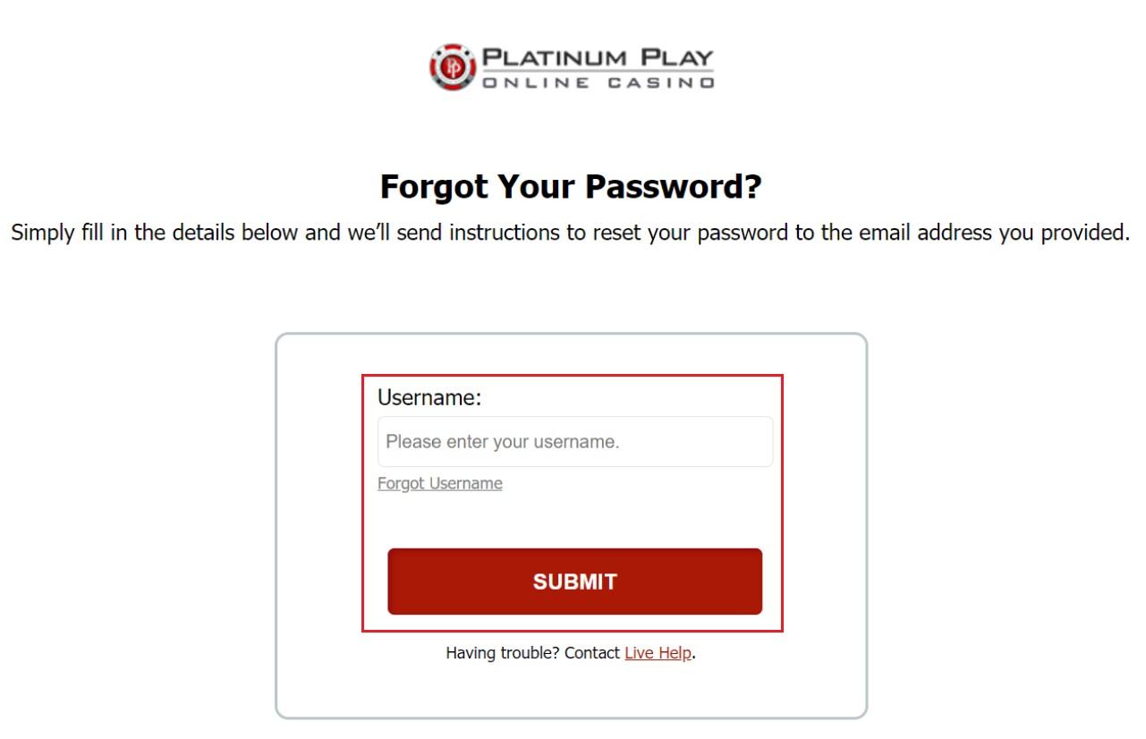 Platinum Play Casino password