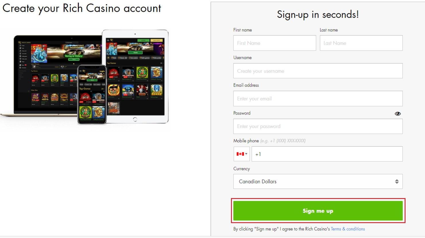 Rich Casino registration