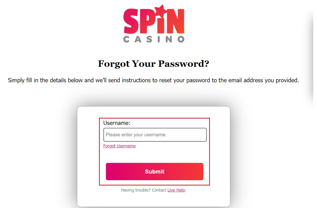 Spin Palace Casino password