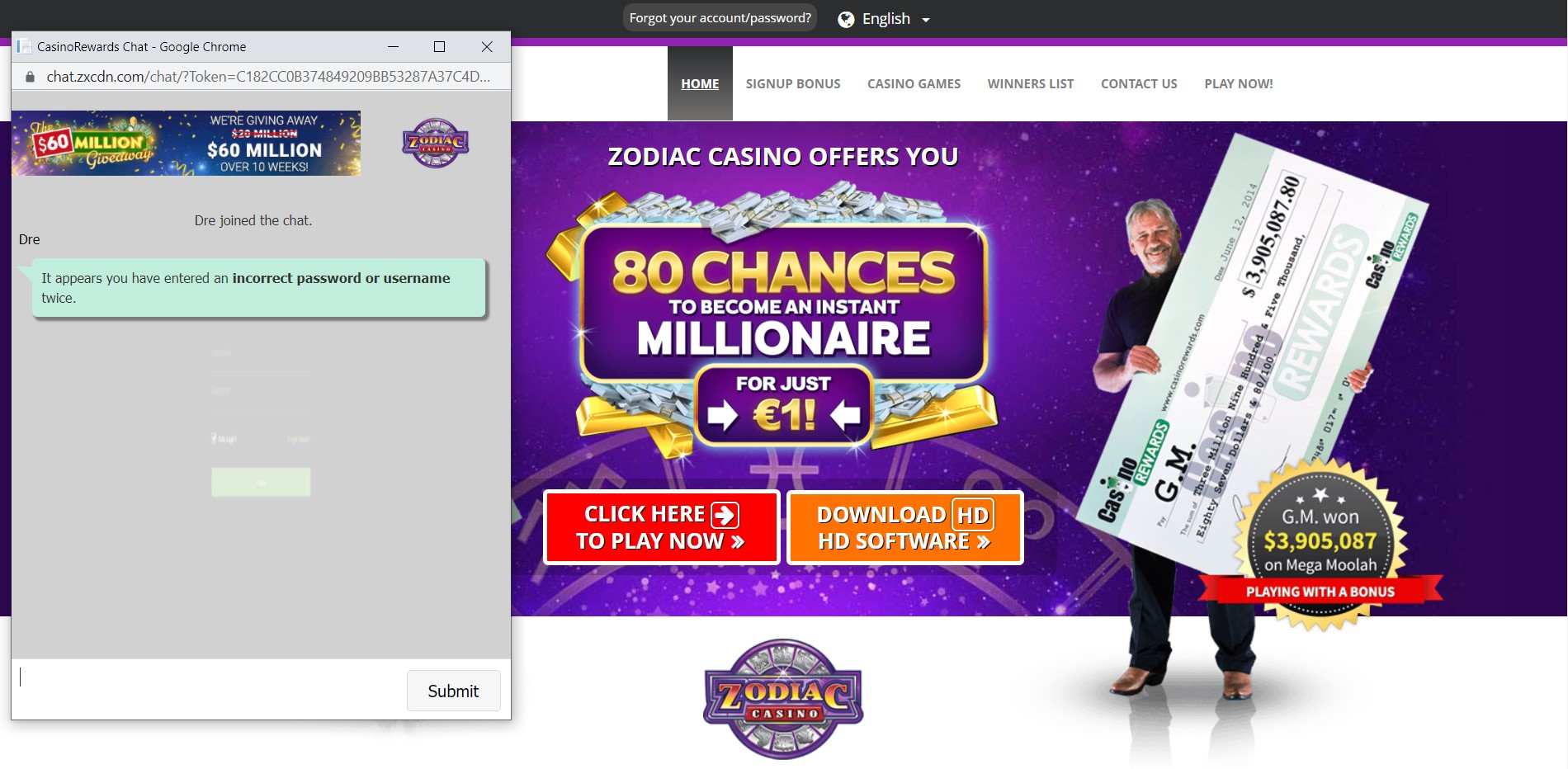 Zodiac Casino password