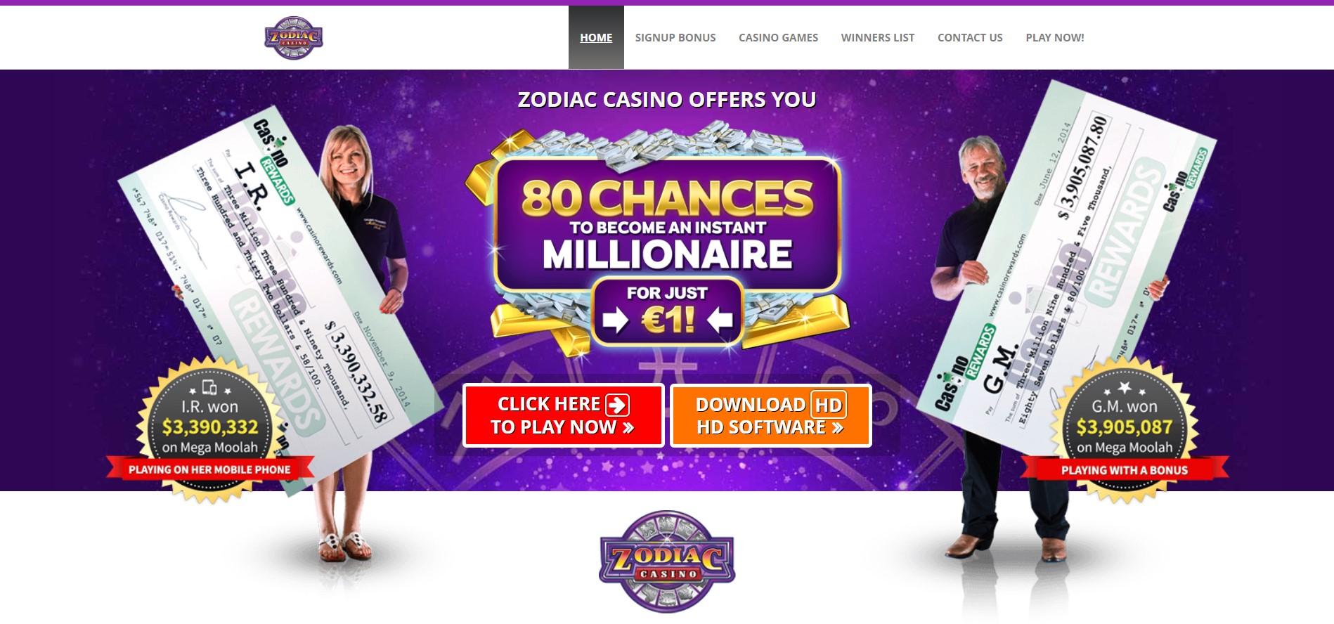 Zodiac Casino welcome