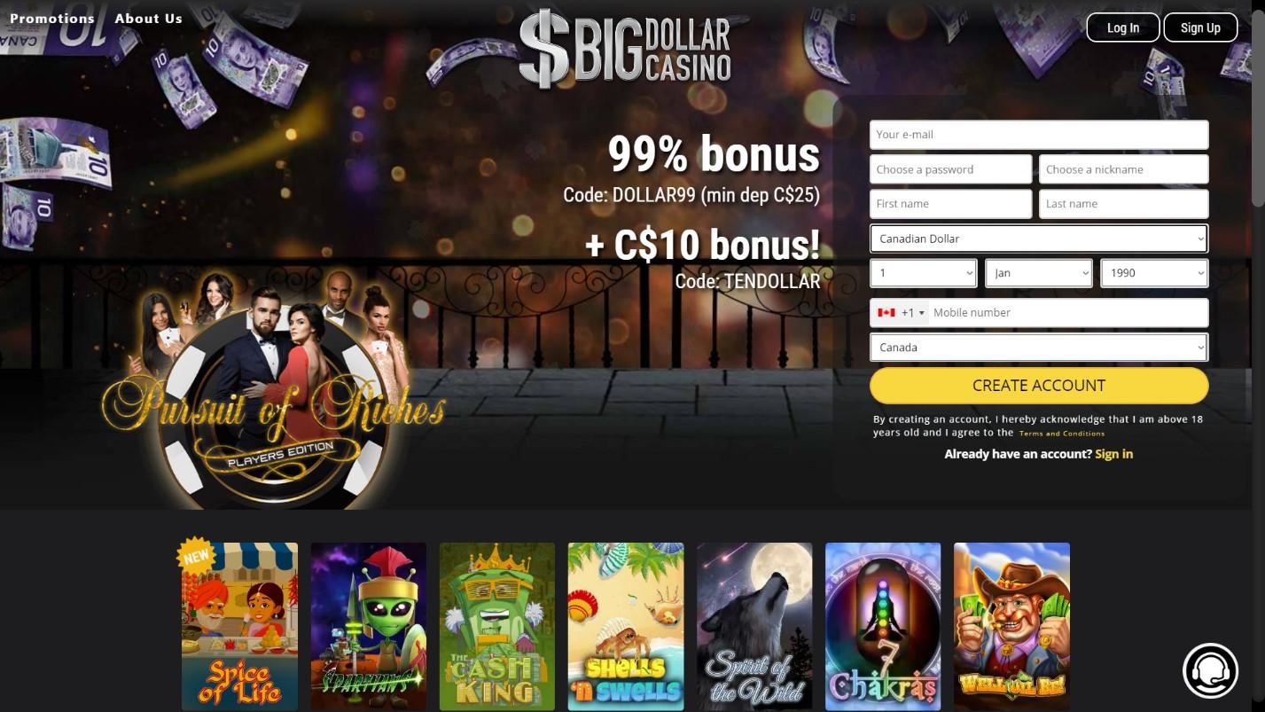 big dollar casino welcome