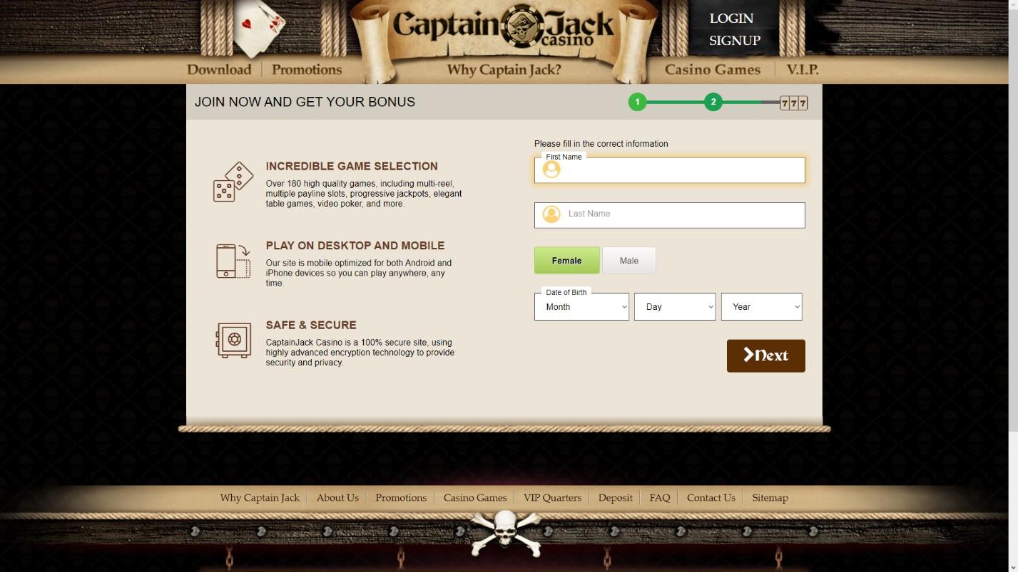 captain jack casino application