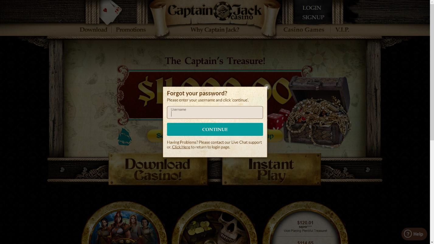 captain jack casino password