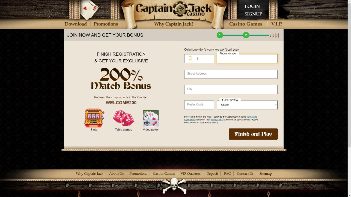 captain jack casino sign in