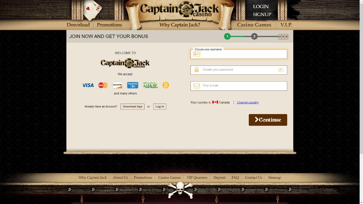 captain jack casino sign up