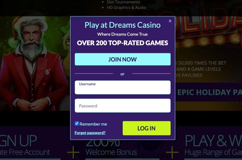 dreams casino login