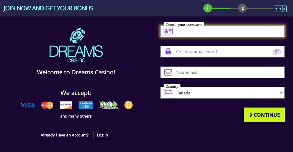 dreams casino registration
