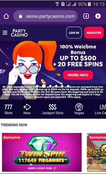 party casino welcome