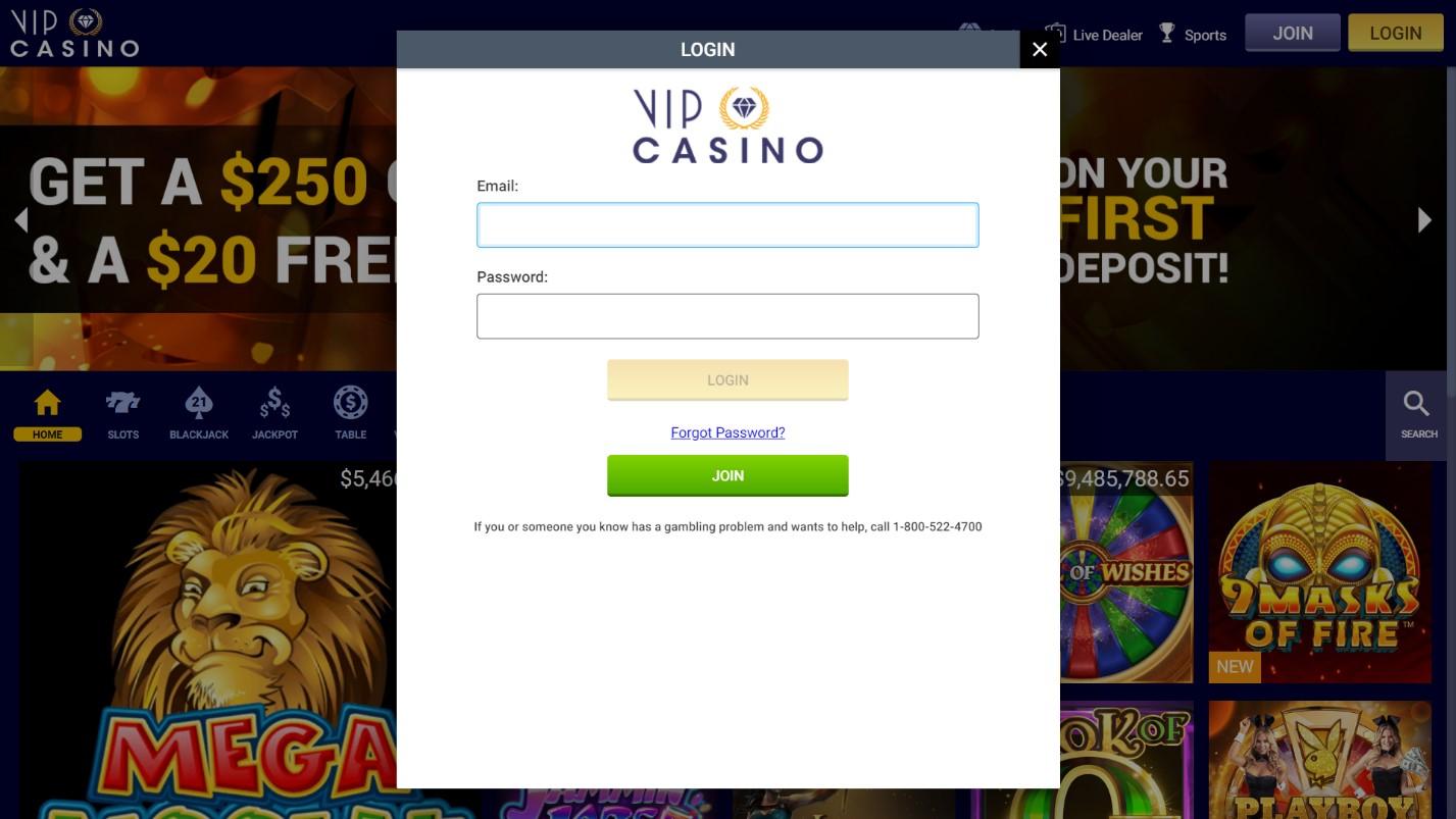 vip casino login