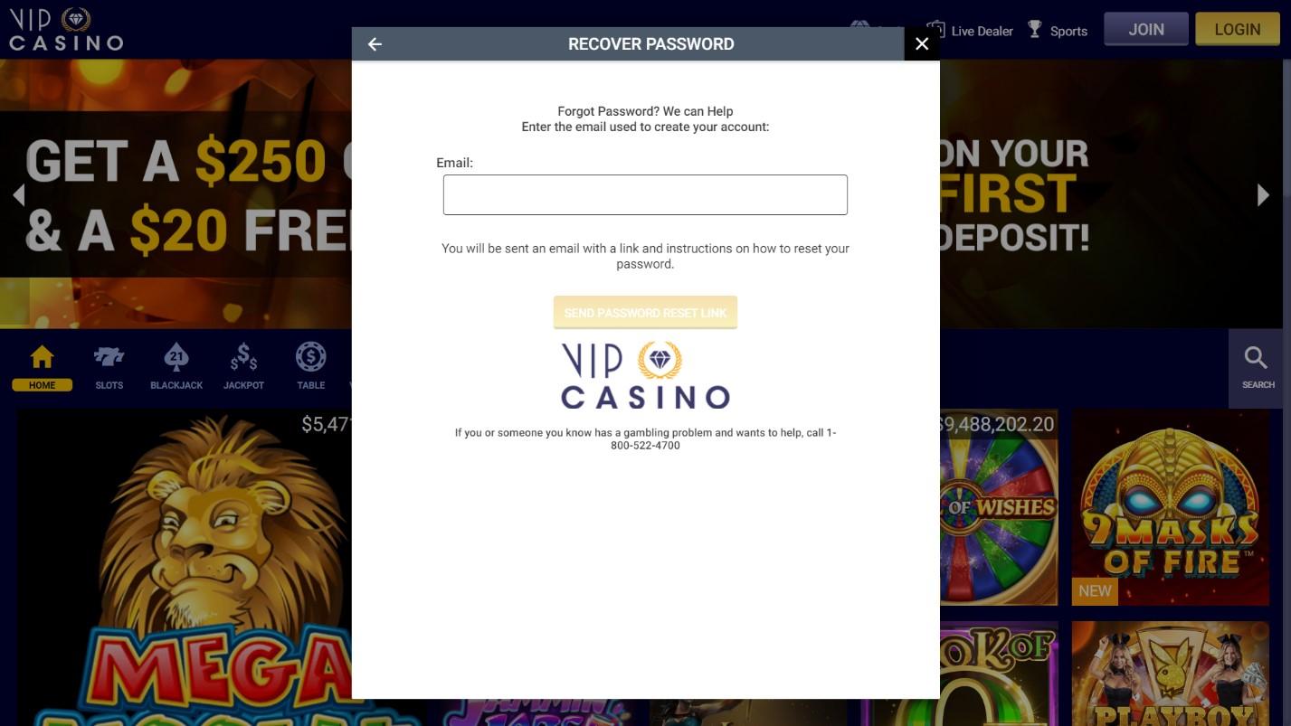 vip casino recover
