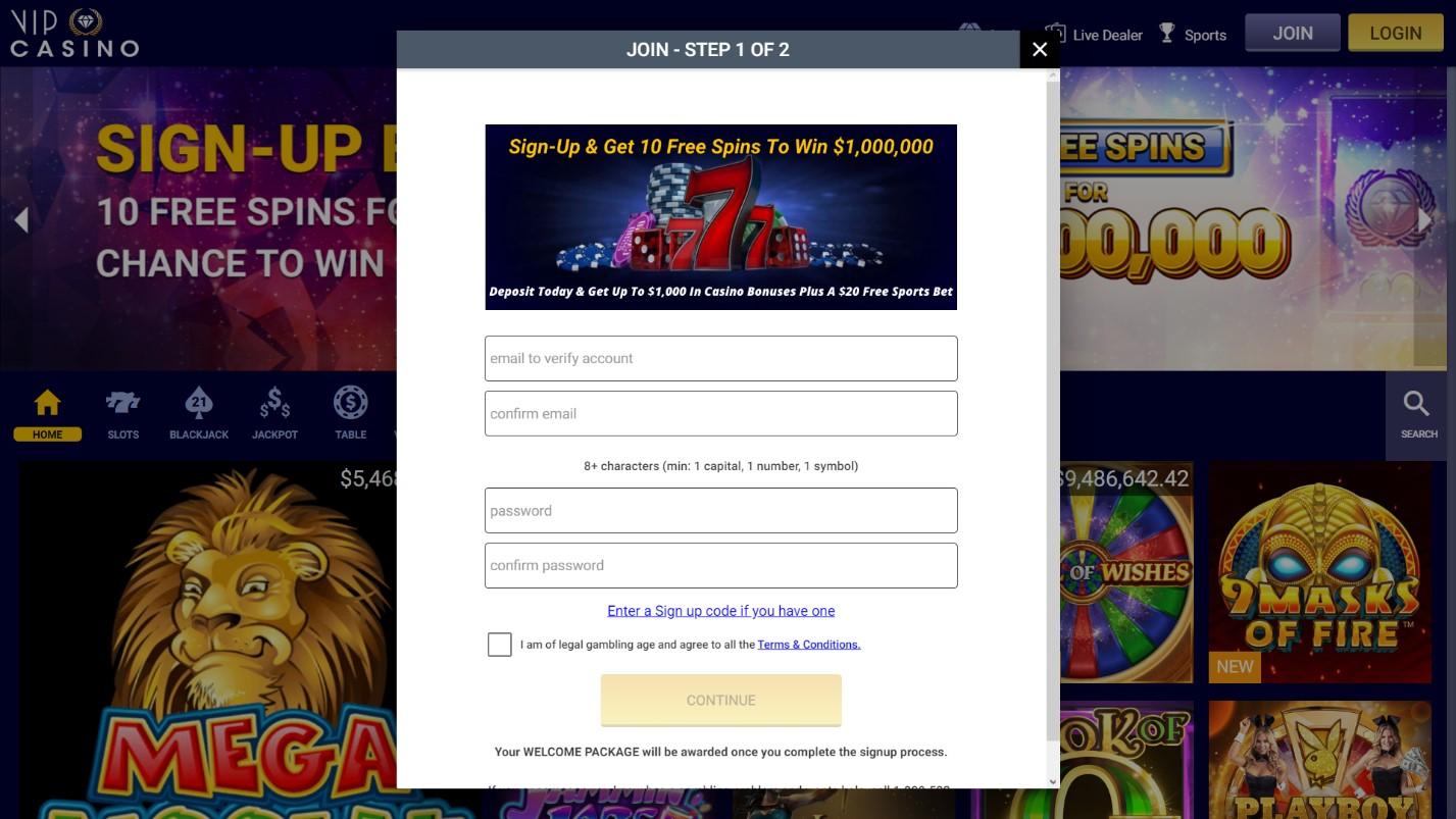vip casino step1