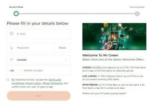 Mr Green Casino Registration