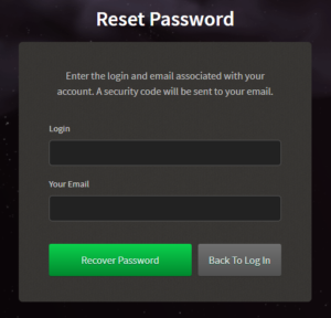 Bovegas Casino Password Recovery