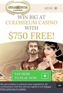 colosseum casino mobile login